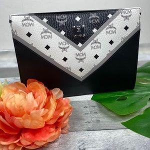 MCM chevron pouch clutch purse medium